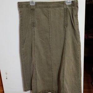 Faded Glory Stretch Khaki Green Denim Skirt 12